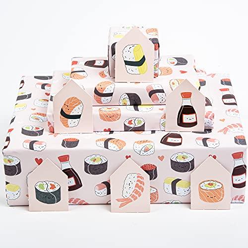 Central 23 - Papel de regalo rosa - Caras de sushi - 6 hojas de papel de regalo - Papel de regalo de moda para niñas, mujeres y adolescentes, ecológico y reciclable