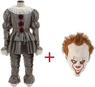 Donna Lunga Rosso Nero Crazy Clown Halloween Spaventoso Costume Parrucca Vestito