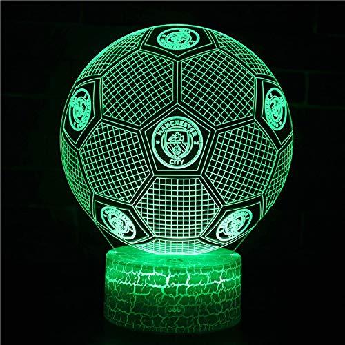 Fútbol Deportes Balón de fútbol Manchester City FC Club Logo 3D Acrílico LED Luz noct