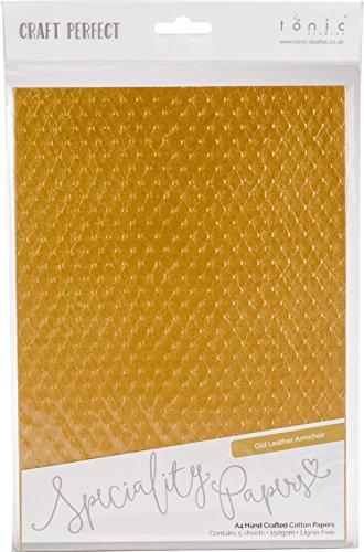 Craft Perfect 9796E Baumwoll-Papier, A4, 5 Stück, Alter Ledersessel, Einheitsgröße