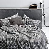 Wake In Cloud - Gray Chevron Duvet Cover Set, 100% Cotton Bedding, Zig Zag Geometric Modern Pattern Printed on Grey, with Zipper Closure (3pcs, Full Size)