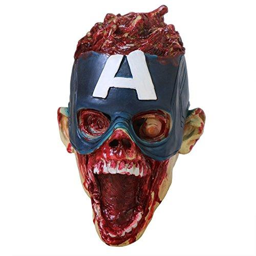 yacn Disfraz Creepy Spoof Captain America, 2018 Halloween Horror Mask Scary Zombie...