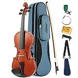 Eastar EVA-1 Akustische Violine Set 4/4 Geige Volle Größe für Anfänger mit Hard Case, Schulterstütze, Bogen, Kolophonium, Clip-on-Tuner und Saiten
