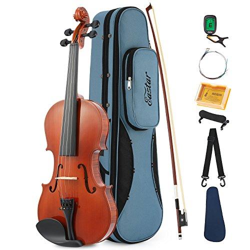 Eastar Akustische Violine Set 1/2 Geige für Anfänger mit Hard Case, Schulterstütze, Bogen, Kolophonium, Clip-on-Tuner und Saiten (EVA-1)
