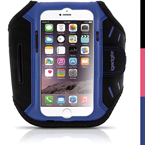 iGadgitz U3912 Blau Wasserabweisend Leichtes Neopren Sports Jogging Armband Laufen Fitness Oberarmtasche Kompatibel mit Apple iPhone 6 & 6S 4.7 Zoll