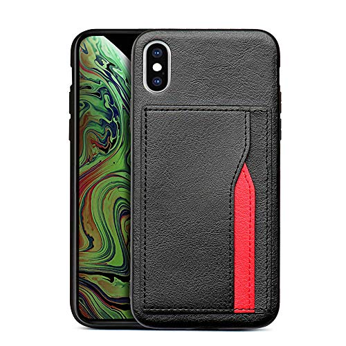 Accessories for iPhone X Case with Card Holder, iPhone Xs Wallet Case, Slim Premium PU Leather Back Cover for iPhone X Case,iPhone Xs Case (Black)