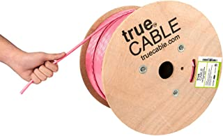 trueCABLE Cat6A Riser (CMR), 1000ft, Pink, 23AWG 4 Pair Solid Bare Copper, 750MHz, ETL Listed, Unshielded Twisted Pair (UT...