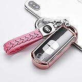 ontto Autoschlüssel Hülle fürMazda 2 3 5 6 CX-3 CX-4 CX-5 CX-7 CX-9 Atenza Axela MX5 Zubehör Fernbedienung Cover TPU Schlüsselhülle Schlüsselanhänger Schlüssel Schutz Etui 2 3 4 Tasten-Rosa
