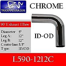 L590-1212C 5 inch 90 Degree Elbow 12 inch x 12 inch ID-OD Chrome
