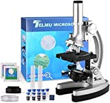 TELMU Microscopio para Niños Microscopios para Niños/Principiantes con 70 + Accesorios 3 Objetivos 300 ×, 600 × y 1200 × y Estuche de Almacenamiento