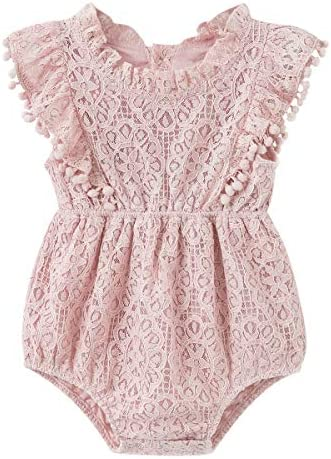 Simplee kids Newborn Baby Girl Pink Lace Cotton Rompers Little Girl Overall Jumpsuit Outfits product image