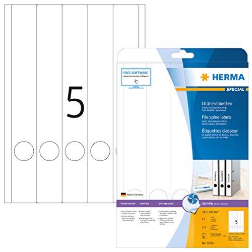 HERMA 4830 Ordnerrücken Etiketten für Inkjet Drucker DIN A4 schmal/lang (38 x 297 mm, 25 Blatt, Papier, matt) selbstklebend, bedruckbar, permanent haftende Ordneretiketten, 125 Rückenschilder, weiß