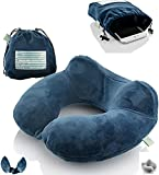 Inflatable Travel Neck Pillow: Extra-Soft, Cushion. For Airplanes, Trains, Cars, Portable Travel Accessory-With Carrying Pouch For cell phone and Passport Etc. (Blue)