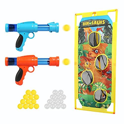 LEADSTAR 2 Piezas Pistola Juguete para Niños,Kit De Juego De Disparos con 24 Bolas Espuma y Objetivo de Tiro Dinosaurio,Regalos Ideal de Cumpleaños y Navidad para Niños de 3-10 Años
