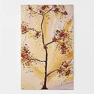 """Abstraktes Wandbild mit Baum""""Homely"""" Landhaus Stil Gemälde Handgemalt in Braun Ocker- Direktbezug vom Künstler"""