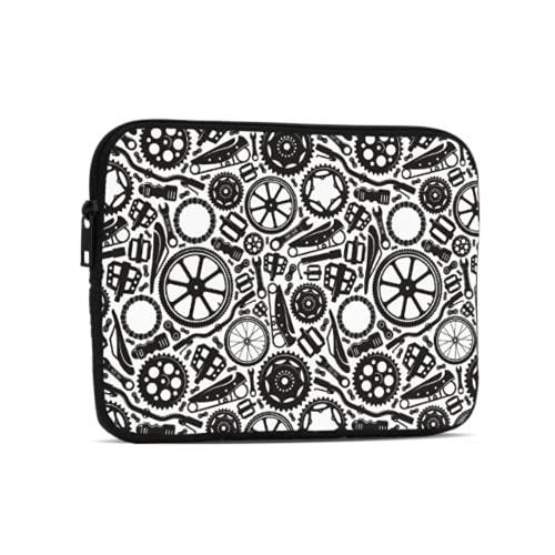 Ipad Pro Bag negro y blanco bicicleta ruedas Ipad funda de transporte compatible con iPad 7.9/9.7 pulgadas a prueba de golpes neopreno cremallera Tablets bolsa protectora con asa correa