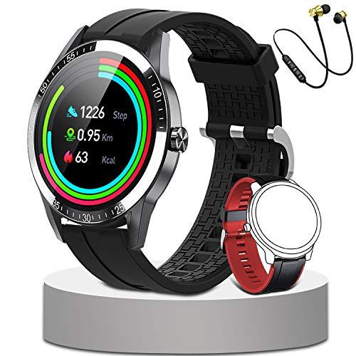 Reloj inteligente para mujer y hombre, pulsera de fitness, monitor de sueño, impermeable, IP68, podómetro, calorías, cronómetro para Android iOS (negro)