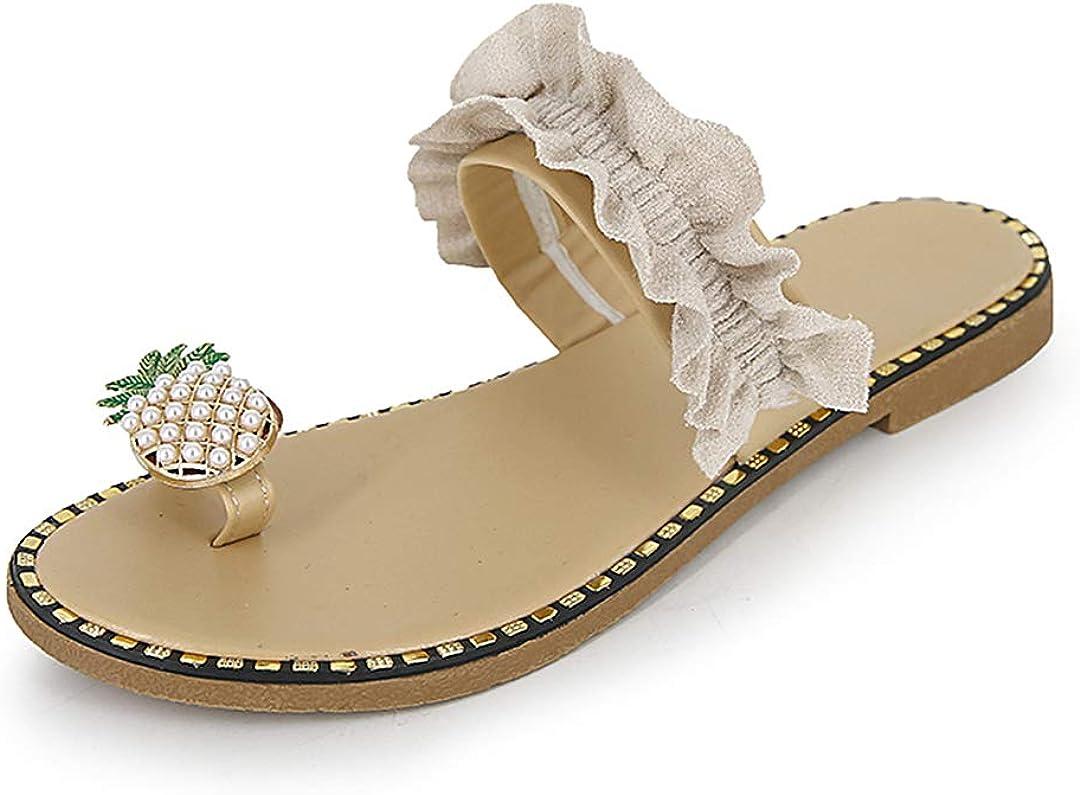 Naimo Oakland Mall Women's Pineapple Rhinestone Sandals Shiny Slippers Flat S Chicago Mall