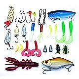 TuT - Juego de 28 señuelos de pesca multifuncionales, accesorios para la pesca, kit de señuelos para cebos primarios, incluyendo cebos, gusanos, anzuelos, anzuelos, etc.