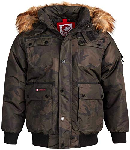 CANADA WEATHER GEAR Mens Winter Coats - Heavyweight Bomber Parka Jacket with Faux Fur Hood, Olive Camo, Size Large