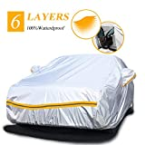 Snow Protect Car Cover,6 Layers Car Cover Outdoor Protection Winter Car Cover Waterproof All Weather Universal Full Car Cover with Zipper A3-3XXL(Fits Sedan 194' to 208')