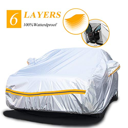 Car Covers Waterproof,Car Cover for Sedan 6 Layers Outdoor Protection Universal Full Cover with Zipper A3-3XXL(Fits Sedan 194' to 208')