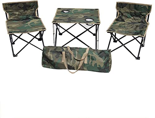 YLCJ - Table de Camping Camouflage - Chaise de pêche avec Dossier - avec Porte-gobelet - Légère - Capacité de Charge de 100 kg - Camping Vacances Plage Three-Piece