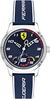 Ferrari Boys' Stainless Steel Quartz Watch with Silicone Strap, Blue, 16 (Model: 0860005)