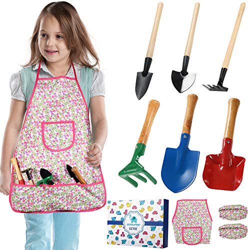 Kids Garden Tool Set, Geyiie Outdoor Yard Gardening Toys with Child Rake, Shovel and Trowel, Apron, Sleeve for Boys/Girls/Toddlers