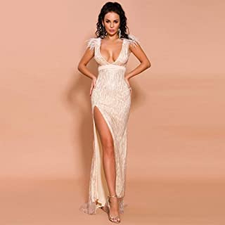 Sexy Dresses for Women, Deep V Strapless Feathers Sexy Dress for Women, Elegant High Slits Shiny Vintage Sexy Summer Dresses for Women for Christmas Gifts Bridesmaid (Color : Gold, Size : S)