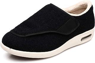 B/H Chaussures de diabète Sneakers,Plus Chaussures de Marche Chaudes en Velours, Chaussures antidérapantes Velcro-Noir A_4...