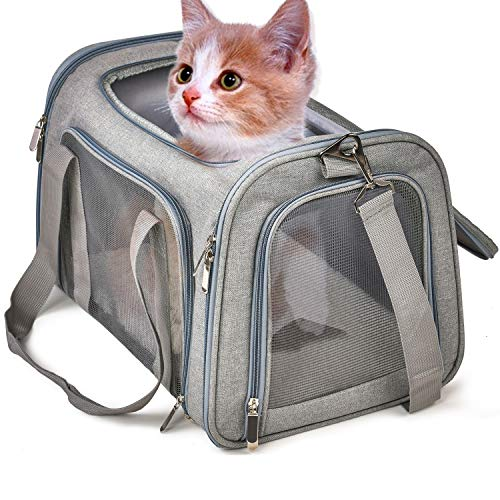 TrutDotペットキャリーバッグ 安全な猫キャリーバッグ 通気性 犬キャリー ショルダー 折りたたみ 手提げキャリーバッグ マット付きキャリー M グレー