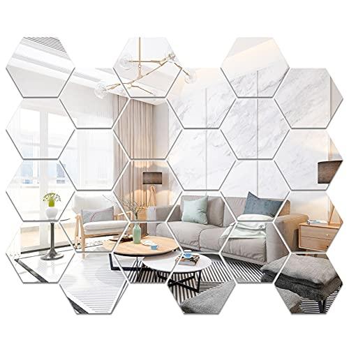 CUNYA 3D-Acryl-Spiegel-Aufkleber, 24 Stück, sechseckig, einfache Kinderzimmer-Wanddekoration, selbstklebend, Wandkunst, Tapete, Heimdekorationen für Wohnzimmer, Schlafzimmer, Bauernhaus-Dekor