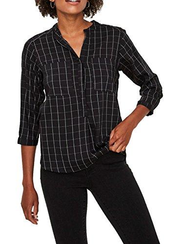 VERO MODA Damen Bluse VMERIKA Checker 3/4 Shirt, Größe:XS, Farbe:Black (10204023)