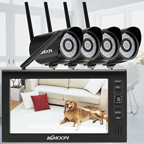 KKmoon 2,4 gHz inalámbrico 4 ch DVR Kit 17,78 cm TFT movimiento visión nocturna 32 G tarjeta microSD goliton Home Security