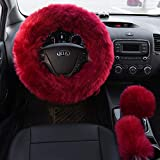 Valleycomfy 4PCS Set Luxury Fluffy Steering Wheel Cover with...