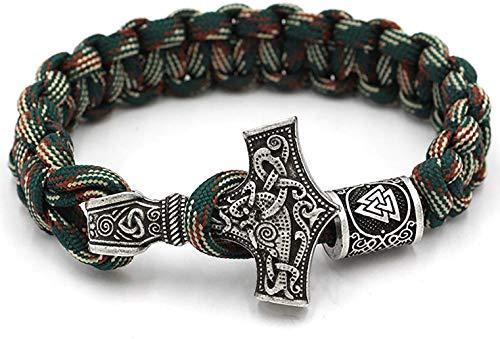 CANNE - Pulsera de Martillo de Thor con Amuleto y Nudo de Runa, Hecha a Mano, 23 cm de Largo