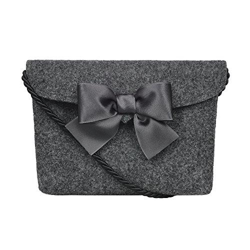 Almbock Trachten-Tasche Lilly in anthrazit - Trachtentasche handmade, handgemacht, aus 100% echtem Wollfilz, Tasche mit Schleife