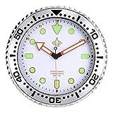 Lafocuse Reloj de Pared Luminoso Fluorescente Blanco Silencioso Moderno 30 cm Redondo Reloj Cuarzo Decorativo para Salon Dormitorio Oficina