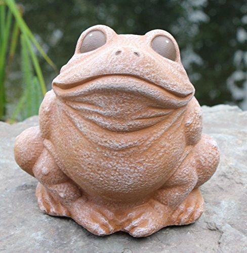 Tiefes Kunsthandwerk Gartenfigur Frosch sitzend Terrakotta, Deko-Figur für Haus und Garten, frostsichere Teichdeko