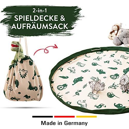 snugo Safari Krabbeldecke, Spielteppich & Aufräumsack in Einem für Kinder & Baby | Ideal für die Aufbewahrung von Spielzeug, Lego und Anderen Spielsachen | Made in Germany