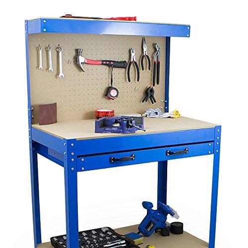 BITUXX® Werkbank Werktisch Arbeitstisch Arbeitsplatte Lochwand Schublade Werkstatt 80 x 50 x 140 cm - 4
