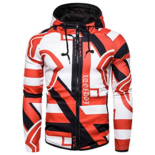 Shenme Amarillo Moda Deportes Gimnasio Bicicleta Ropa de Hombre elástico Flojo con Capucha de impresión Tendencia suéter (Color : Rojo, tamaño : L)
