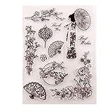 AIUIN Sellos Scrapbooking Clear Stamp Estilo Chino Abanico de Papel y Paraguas de Papel Sello Transparente Hoja De Sello De Silicona para álbum De Tarjetas De Arte De Scrapbook DIY álbum