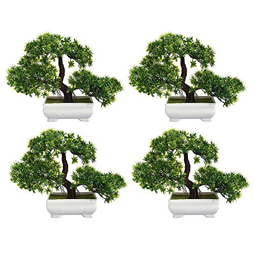 LACKINGONE Planta Artificial para bonsái, de Madera de Pino, para Oficina, alféizar, Patio (Verde) (4pcs)