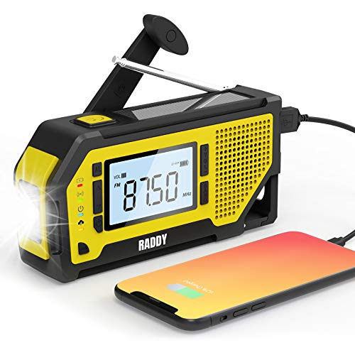 Raddy NW3 Kurbelradio Tragbares Solar AM FM Notfallradio Dynamo mit Handyladefunktion Taschenlampe und wiederaufladbares Batterie für Outdoor Camping