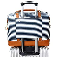 Sturdy bag for anyone looking for pack two to three days worth of clothing, towels, gifts, make up, hair accessories, etc. a weekender bag or a cute carry-on duffle, as well as holding a laptop up to 15.6 inches. You can get this spacious bag as perf...