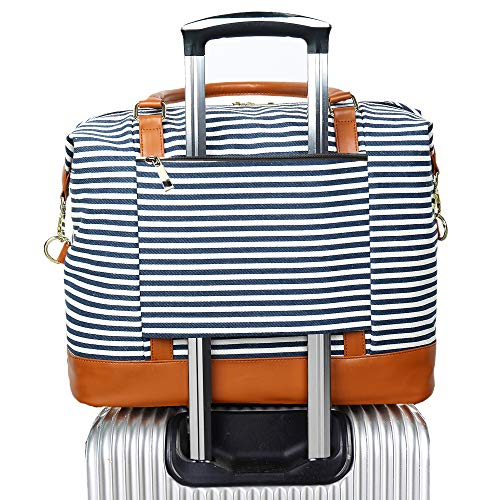 Women Ladies Canvas Weekender Bag Overnight Carry-on Tote Duffel in Trolley Handle (Blue Stripe)