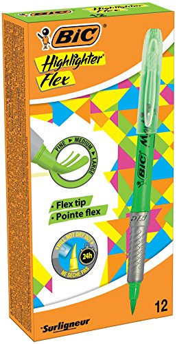 BIC Highlighter Flex Marcadores Punta Flexible – Verde, Caja de 12 unidades