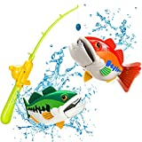 zoolb Pool Fishing Game Toy for Kids and Toddlers,Electric Floating Fish with Adjustable Fish Rod,Magnetic Fishing Game Bath Toy Fishing Toy Bathtub Toys Water Toys Swimming Gifts for Kids Ages 3+